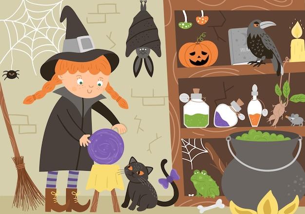 Illustrazione dell'interno dell'angolo della strega di vettore. sfondo di halloween con gatto nero, pipistrello, ragno. scena spettrale con animali spaventosi, ingredienti per pozioni. invito a una festa di samhain spaventoso o design della carta.