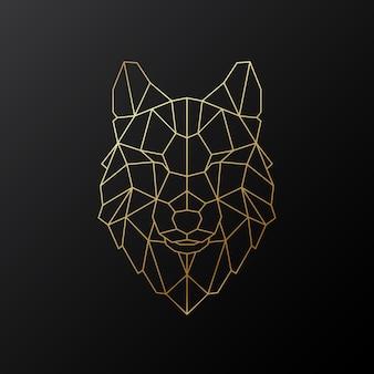 Illustrazione della testa di lupo vettoriale in stile poligonale