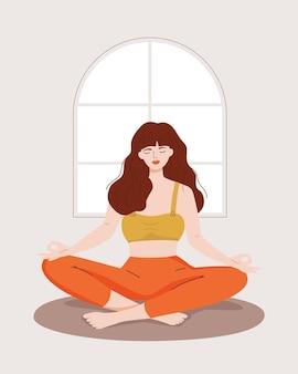 Donna vettoriale con gli occhi chiusi seduta in una posa di loto a casa concetti di meditazione yoga relax