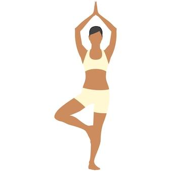 Icona di esercizio di yoga della donna di vettore isolata su white
