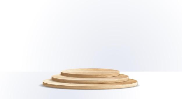 Podio in legno vettoriale su sfondo bianco della stanza, presentazione mock up, mostra il design del piedistallo del palcoscenico del display del prodotto cosmetico