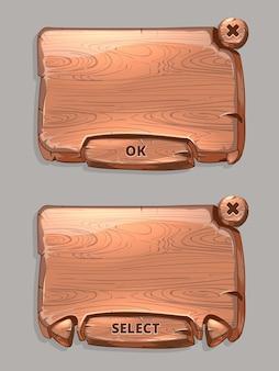 Pannelli di legno di vettore per lo stile del fumetto dell'interfaccia utente di gioco. interfaccia texture, seleziona e illustrazione dei pulsanti ok