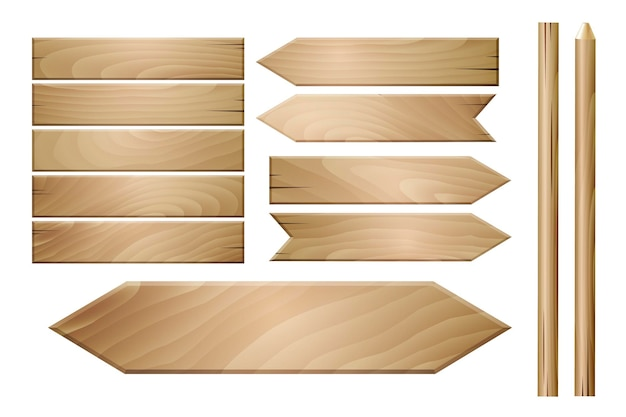 Plance di legno di vettore isolate su fondo bianco.