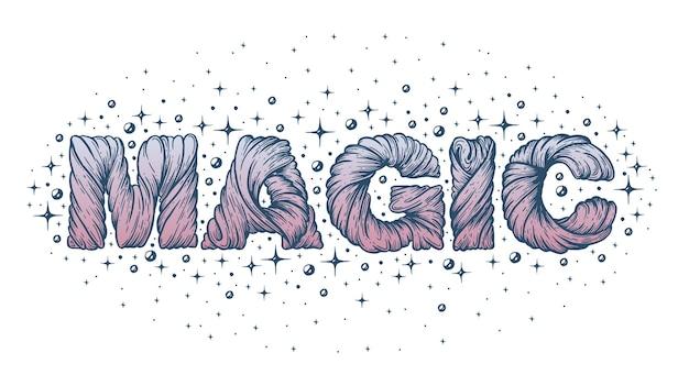 Illustrazione artistica magica di parola vettoriale fatta a mano con penna e inchiostro su carta