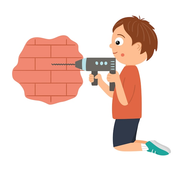 Ragazzo di lavoro di vettore. carattere piatto divertente del bambino che perfora un muro di mattoni con un trapano. illustrazione di lezione di artigianato. concetto di un bambino che impara a lavorare con gli strumenti.