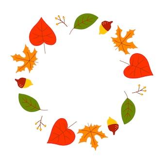 Corona di vettore di foglie autunnali e frutta in stile acquerello. bella corona rotonda di foglie gialle e rosse, ghiande, bacche, coni e rami. decorazioni per inviti, biglietti di auguri, poster.