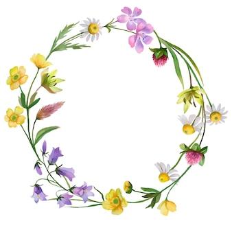Corona di vettore con fiori di campo disegnati a mano illustrazione floreale isolato su sfondo bianco