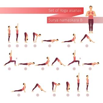 Vettore yoga impostato in stile piatto. complesso yoga saluto al sole. uomo che fa yoga. stile di vita yoga