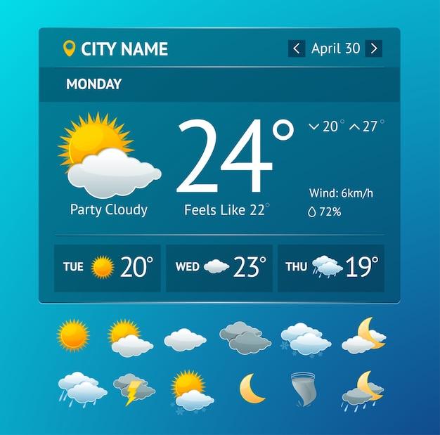 Widget meteo illustrazione vectot per smartphone con set di icone isolato su uno sfondo bianco