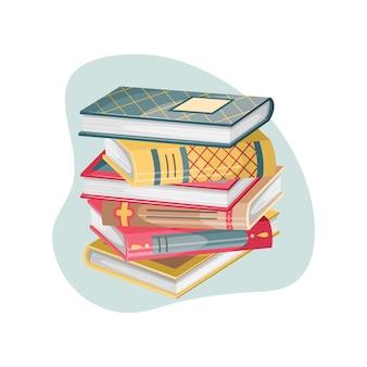 Illustrazione di vectro con una pila di libri in stile retrò.