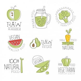 Collezione di etichette promozionali di prodotti naturali al 100% vegani