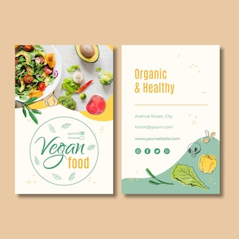 Modello di biglietto da visita di cibo vegano
