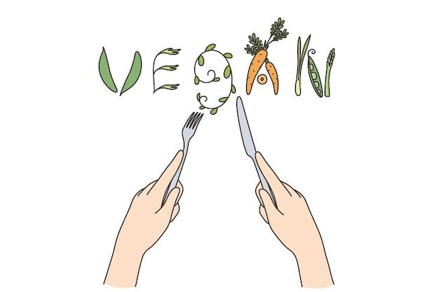 Cibo vegano e concetto di dieta