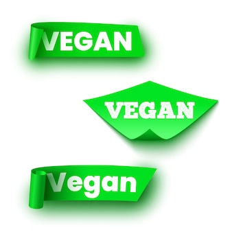 Etichette verdi per alimenti vegani. rotoli di carta. nastri.