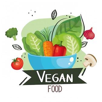 Illustrazione di cibo vegano con ciotola e verdure