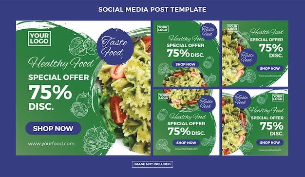 Set di post sui social media di cibo vegano vettore premium