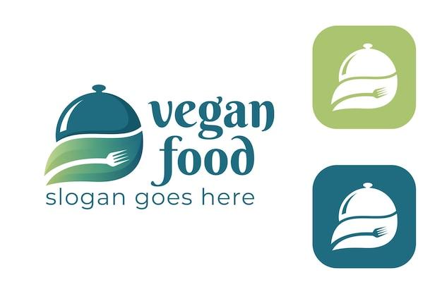 Cibo vegano con foglia verde, icona della forchetta per cibo sano, vegetariano, dieta, modello di logo di ingredienti naturali