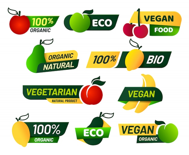 Etichette vegane. cibo ecologico verde, prodotti biologici freschi sani e set di etichette emblema vegetariano