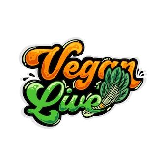 Vegano dal vivo con spinaci graffiti illustrazione