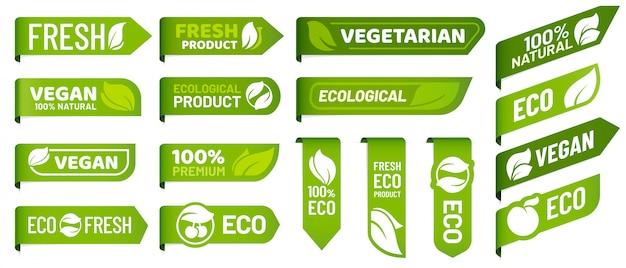 Etichette con marchio vegano. set di prodotti vegetariani freschi, alimenti biologici ecologici e badge adesivi consigliati per prodotti sani