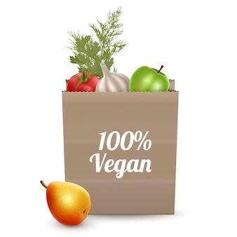 Poster vegano con sacchetto di carta, diverse verdure e frutta isolato su bianco