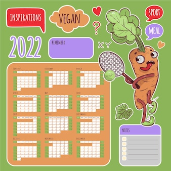 Calendario adesivi vegan 2022 anno tennis carota programma ed etichette di raccolta elementi di design