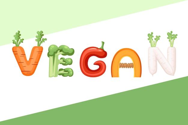 Stile vegano fumetto vegetale design piatto illustrazione vettoriale su sfondo bianco.