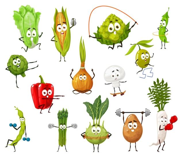 Personaggi dei cartoni animati di verdure, fagioli e funghi che fanno esercizi sportivi