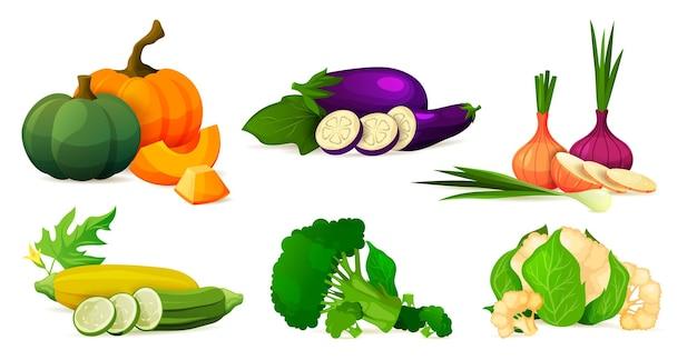 Set di composizioni vegetali di prodotti ecologici freschi