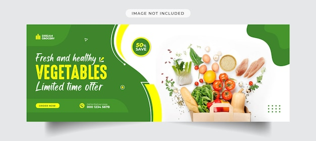 Copertina facebook vegetale e modello di banner per social media Vettore Premium