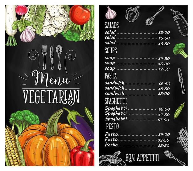 Menù di lavagna di cibo vegetale del ristorante vegetariano