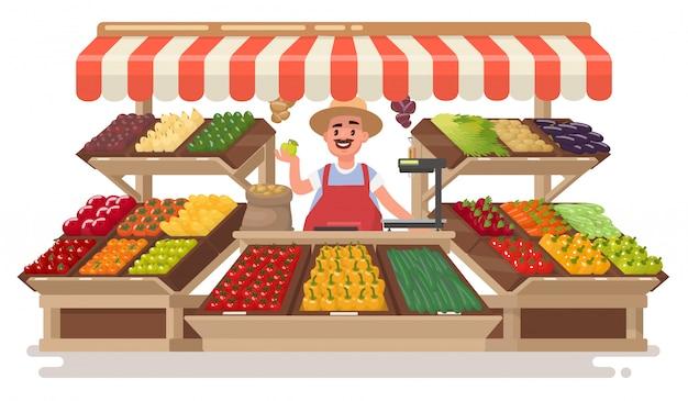Negozio locale di frutta e verdura. happy farmer vende prodotti naturali freschi. illustrazione in uno stile.