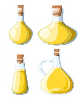 Set di bottiglie assortite di olio vegetale. olio d'oliva, illustrazione di semi di soia mais girasole. pagina del sito web di ingredienti piccanti e app per dispositivi mobili.