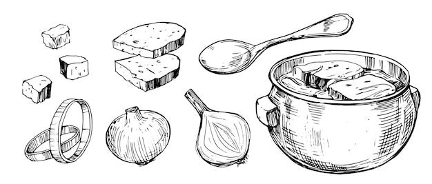 Zuppa di cipolle vegetali. illustrazione disegnata a mano.