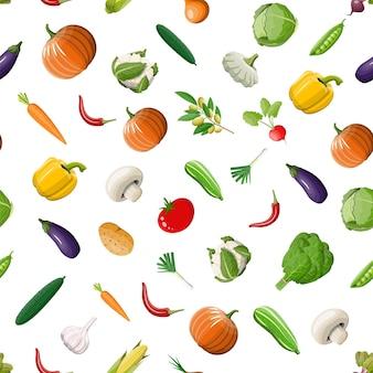 Modello senza cuciture vegetale. cipolla, melanzane, cavoli, peperoni, zucca, cetrioli, pomodori, carote e altre verdure. cibo sano biologico. alimentazione vegetariana. illustrazione vettoriale in stile piatto