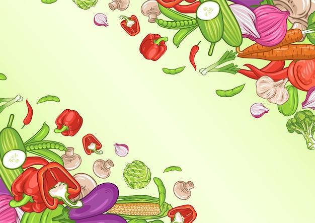 Sfondo di verdure con spazio di testo, poster di alimenti biologici, sfondo di verdure