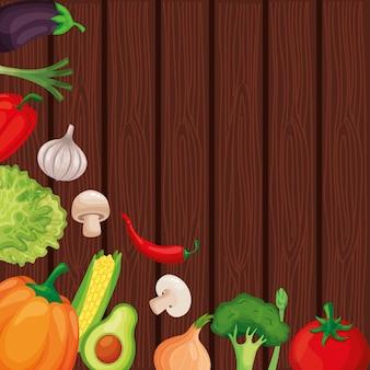 Banner di verdure con uno spazio vuoto su sfondo texture in legno. illustrazione vettoriale
