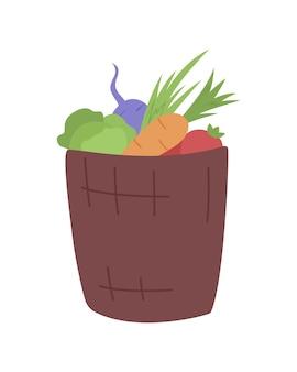 Cesto di verdure semi piatto oggetto vettoriale di colore. consegna di verdure fresche e biologiche. la carota, il cavolo, il pomodoro in scatola hanno isolato l'illustrazione moderna di stile del fumetto per la progettazione grafica e l'animazione