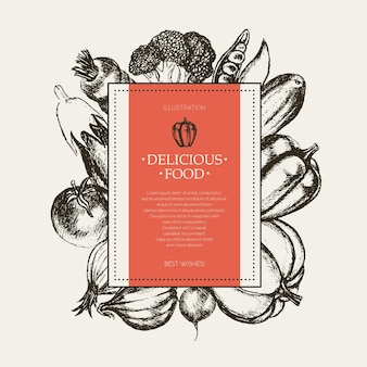 Verdure - bandiera quadrata disegnata a mano di vettore in bianco e nero con copyspace. broccoli realistici, zucca, ravanello, cipolla, pomodoro, melanzana, peperone, cetriolo carota pisello