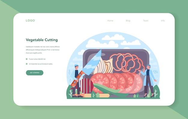 Banner web o pagina di destinazione dell'industria agricola delle verdure. idea di agricoltura e coltivazione. selezione del raccolto biologico. elaborazione e conservazione dei generi alimentari del villaggio. illustrazione vettoriale piatta