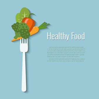 Verdure su una forchetta. cibo salutare