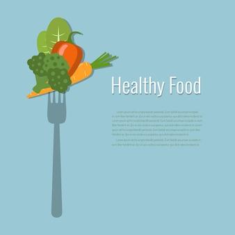 Verdure su una forchetta cibo sano