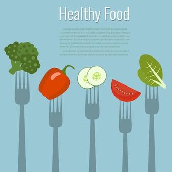 Verdure su forchette. cibo salutare