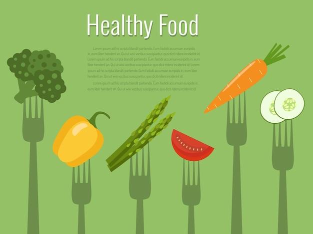 Verdure su forchette. cibo salutare.