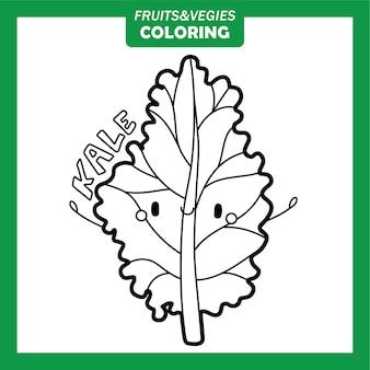 Personaggi da colorare di frutta e verdura kale