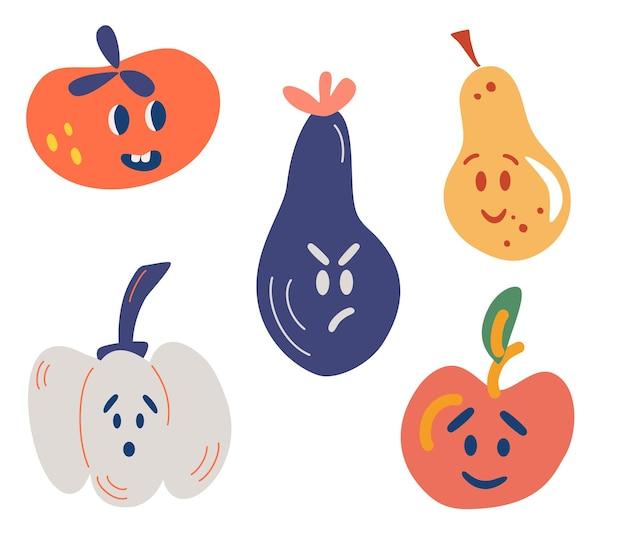 Frutta e verdura con facce buffe. pomodoro, melanzana, mela, pera, zucca. Vettore Premium