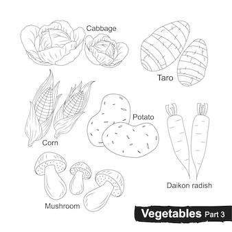 Raccolta disegnata a mano di verdure parte 3