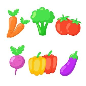 Insieme di set di icone disegnate a mano di verdure.
