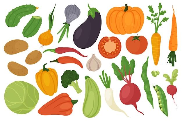 Le verdure raccolgono la dieta vegetariana set di alimenti freschi cavoli carote cetrioli patate cipolla