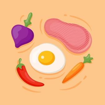 Modello di progettazione di verdure e cibo sano